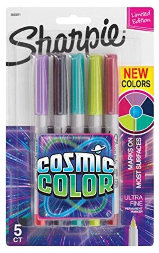 Sharpie Back to School Sharpie 5-Piece Cosmic Color Permanent Markers Set White