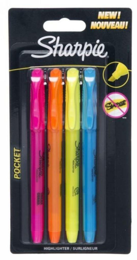 Sharpie Back to School Sharpie Pack Of 4 Pocket Highlighter Pens Multicolour