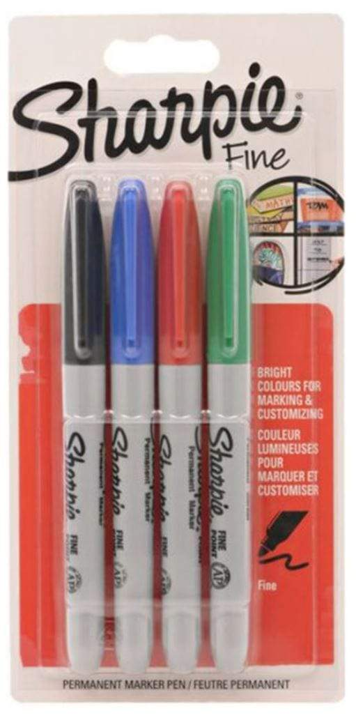 Sharpie Back to School Sharpie Pack Of 4 Sharpie Permanent Marker Multicolour