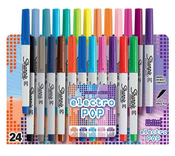 Sharpie Back to School Sharpie Set Of 24- Electro Pop Permanent Markers Multicolour