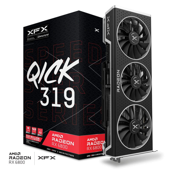 XFX Gaming XFX Speedster QICK 319 AMD Radeon™ RX 6800 BLACK Gaming Graphics Card with 16GB GDDR6, AMD RDNA™ 2