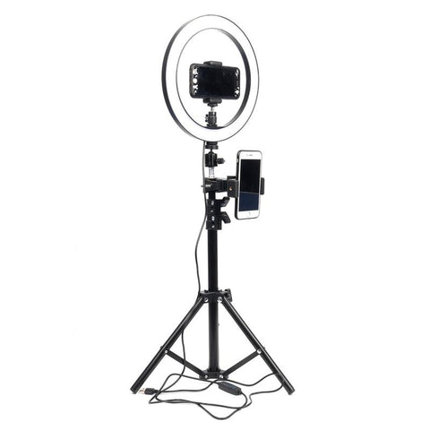 "10"" Dimmable Ring Light-Tripod-2 Phone Clips"