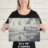"12"" x 16"" Canvas Print-2 Names Premium Canvas (B&W Beach)"