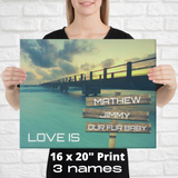 "16"" x 20"" Canvas Print-Love Is-3 Names Premium Canvas (Ocean Pier)"
