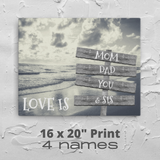 "16"" x 20"" Canvas Print-Love Is-4 Names-Premium Canvas (B&W Beach)"