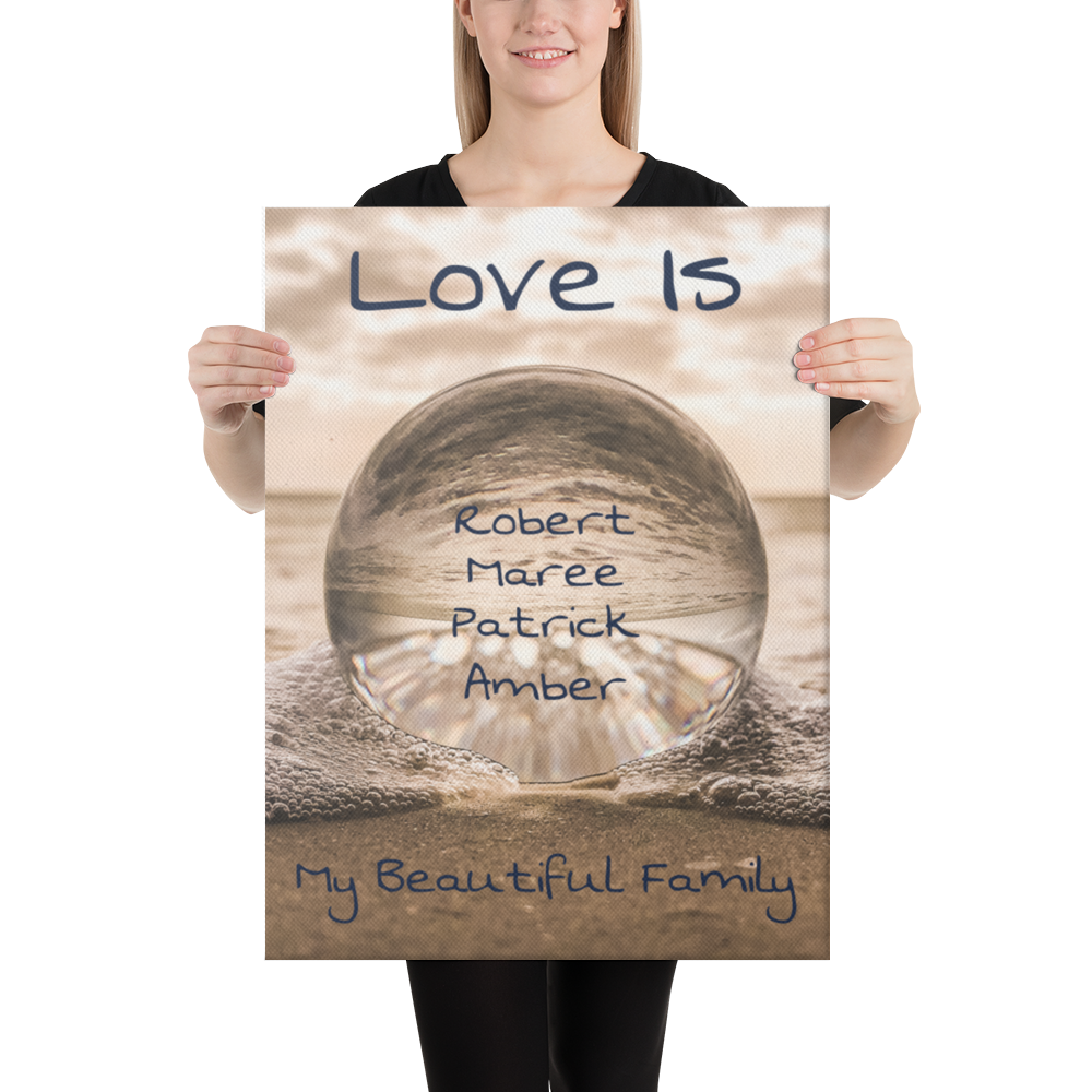 "18"" x 24"" Canvas Print-Family Love-4 Names Premium Canvas (Crystal Ball)"