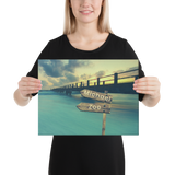 "12""x 16"" Canvas Print - Two Names Premium Canvas (Ocean Pier)"