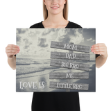 "16"" X 20"" Canvas Print-Love Is-5 Names-Premium Canvas (B&W Beach)"