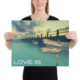 "16""x 20"" Canvas Print-Love Is-Two Names Premium Canvas (Ocean Pier)"