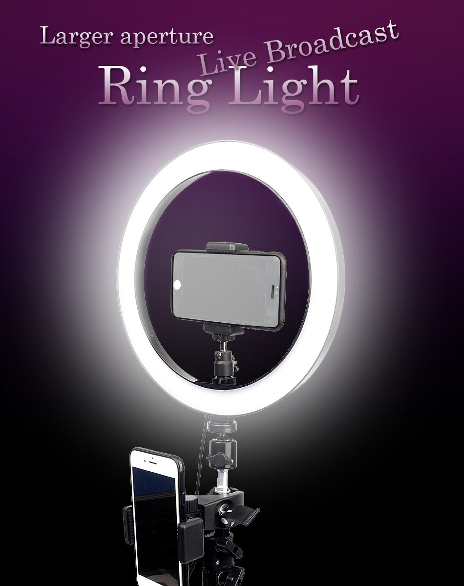 "Ring light 10""/26cm with tripod and 2 phone clips - Shutterbug Shop"