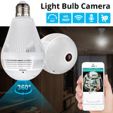 Security Camera Light Bulb with 360º Fisheye Lens and Two Way Audio (White)