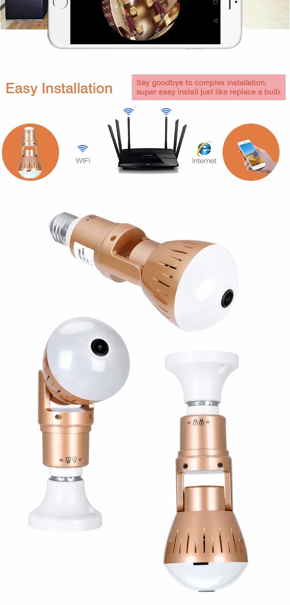 Security Camera Light Bulb with 360º Fisheye Lens and Two Way Audio (Bronze)