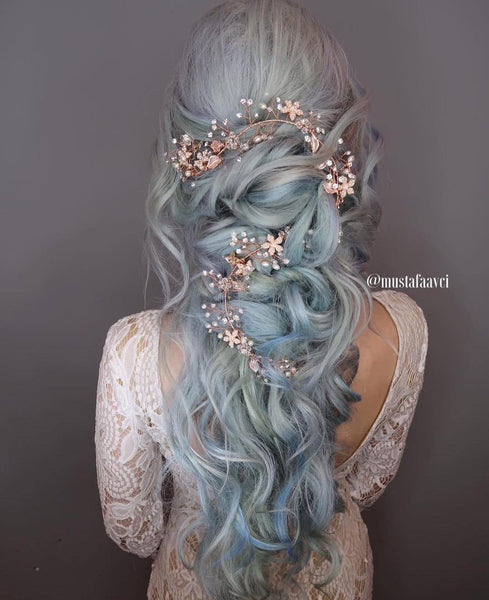 @mustafaavci  bridal hair silver blue