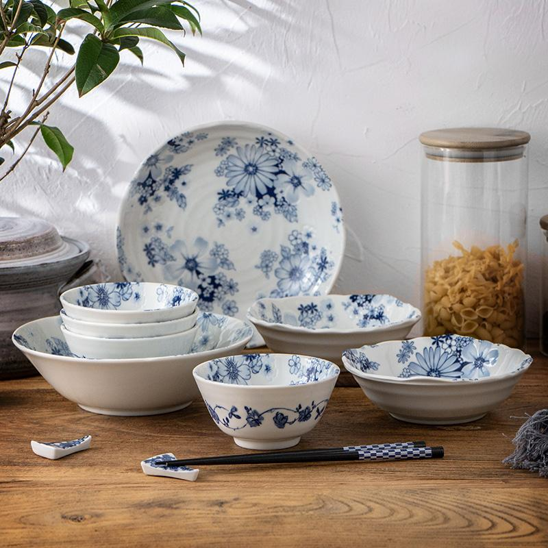 Blue and white simple Japanese ceramic tableware set with Chinese-style bowl dish