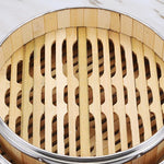Stainless Steel Reinforced Bamboo Steamer for all steaming needs. Water will not condense onto your food.