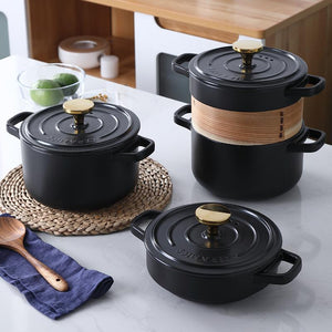 Claypot for small casserole, soup, porridge, rice etc. Works on electric ceramic stove and open fire, special flat bottom stone pot