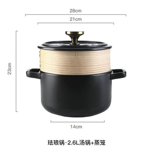 Claypot for small casserole, soup, porridge, rice etc. Works on electric ceramic stove and open fire, special flat bottom stone pot 4133570516339