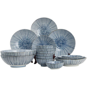 Moder Design  Japan-made Ten grass blue and white ceramic plate 16-piece tableware