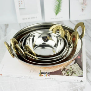 Indian copper binaural bowl for curries or ornaments