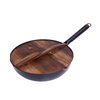 12.5 inch Hand forged flat bottom iron wok with wooden handle and wooden cover