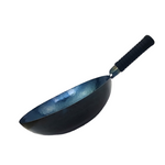 Flat Bottomed Forged Iron Wok: Pre-seasoned, Handmade, Chemical-free.