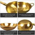 100% Pure Copper Thickened Bottom Wooden Handle Wok, Chemical-free