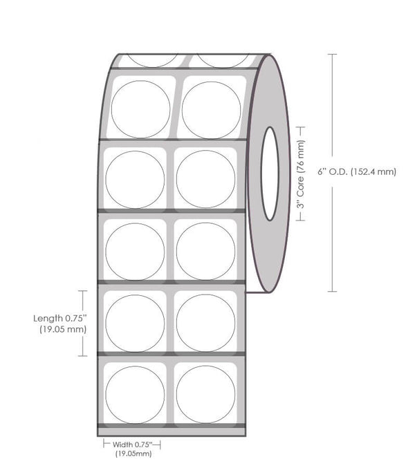"0.75"" Circle (2 UP) NP Gloss Paper Label - 4000 Labels"
