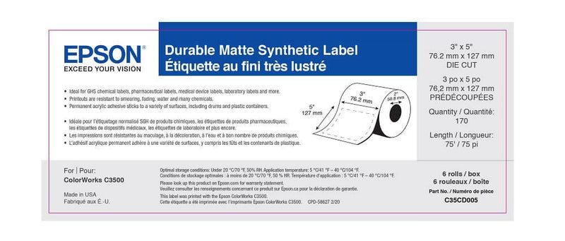 "3"" x 5"" GHS Chemical Label - 170 Labels (6-Pack)"
