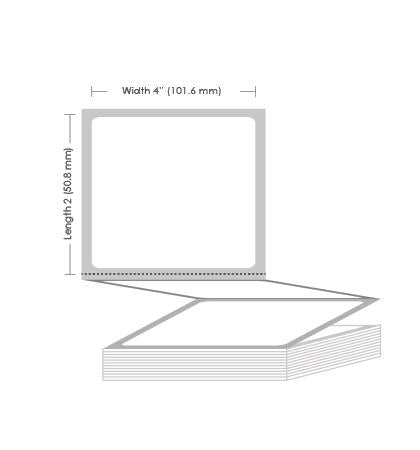 "4"" x 2"" Thermal Transfer Fanfold Label - 6000 Labels (2-Pack)"