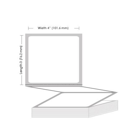 "4"" x 3"" Thermal Transfer Fanfold Label - 4000 Labels (2-Pack)"