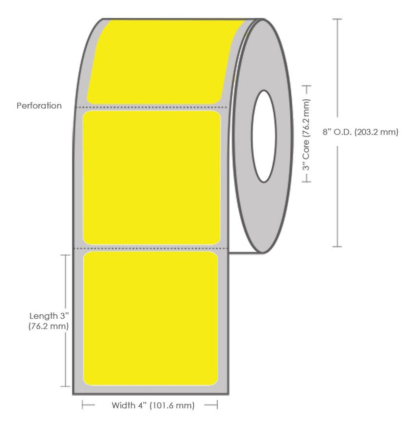 "4"" x 3"" Yellow Thermal Transfer Label - 1800 Labels (4-Pack)"
