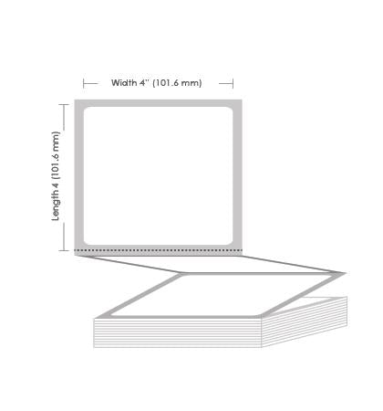 "4"" x 4"" Thermal Transfer Fanfold Label - 3000 Labels (2-Pack)"