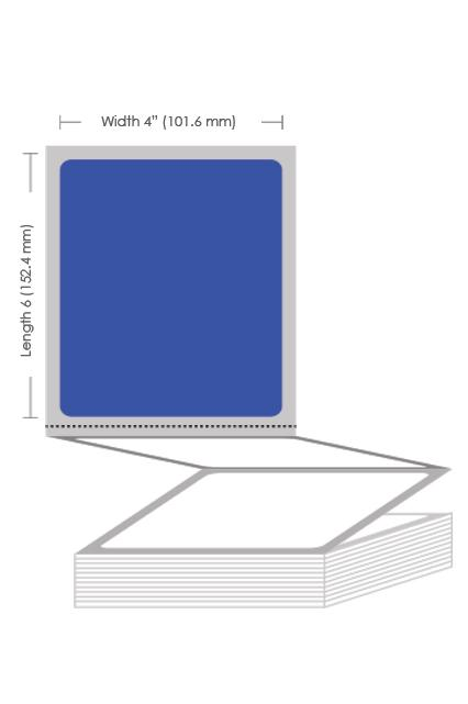 "4"" x 6"" Blue Thermal Transfer Fanfold Label - 2000 Labels (2-Pack)"