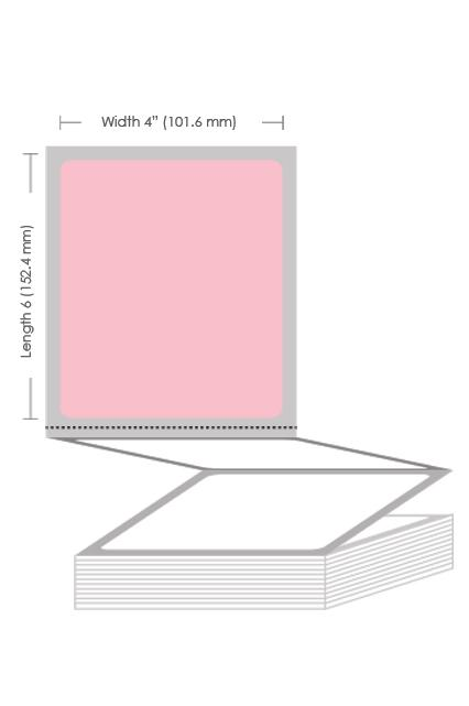 "4"" x 6"" Pink Thermal Transfer Fanfold Label - 2000 Labels (2-Pack)"