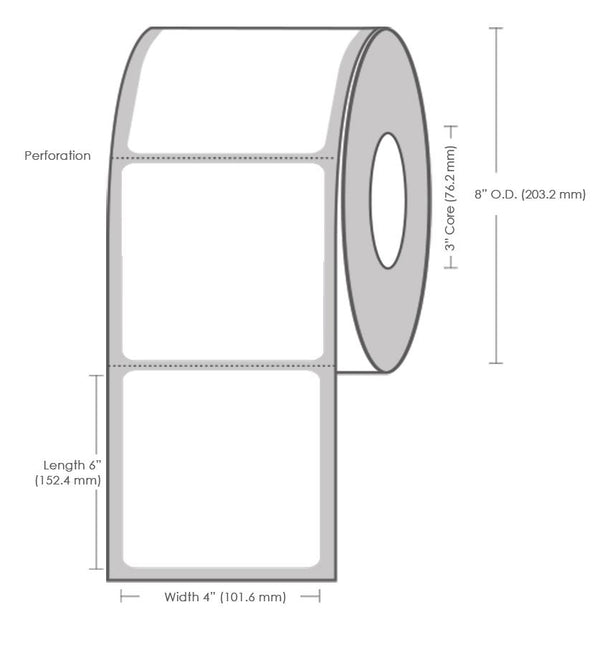 "6"" x 4"" Thermal Transfer Label - 1500 Labels (4-Pack)"