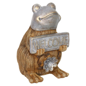 Exhart Welcome Sign Garden Frog Statue in a Wood Look with Silver Detail, 11 Inch