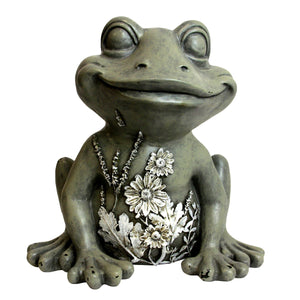 Solar Frog Garden Statue with Flowers, 11 Inch