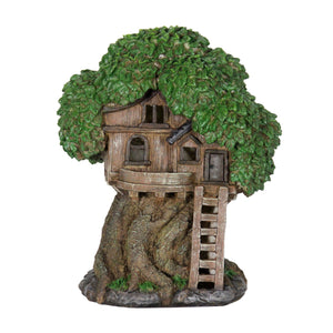 Exhart Solar Fairy Tree House with Deck and Ladder Garden Statue,  12 Inch