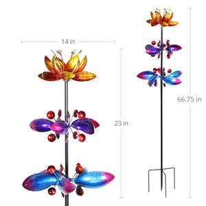 Lotus Flower Wind Spinner Garden Stake with Three Metallic Flowers, 14 by 66 Inches
