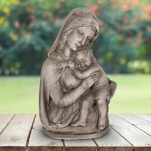 Mary With Child Resin Garden Statue, 14 Inches
