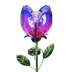 Purple Solar Flower Garden Stake Made of glass and metal, 6 by 36 Inches
