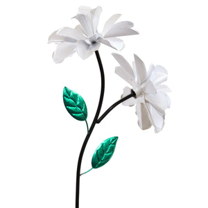 Double Rose Flower Wind Spinner Garden Stake Hand Painted in Metallic White, 10 by 39 Inches
