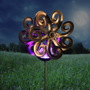 Solar Kinetic Double Wave Windmill Metal and Crackle Glass Garden Spinner Stake