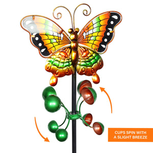 Butterfly Wind Spinner Garden Stake in Orange, 9 by 38 Inches