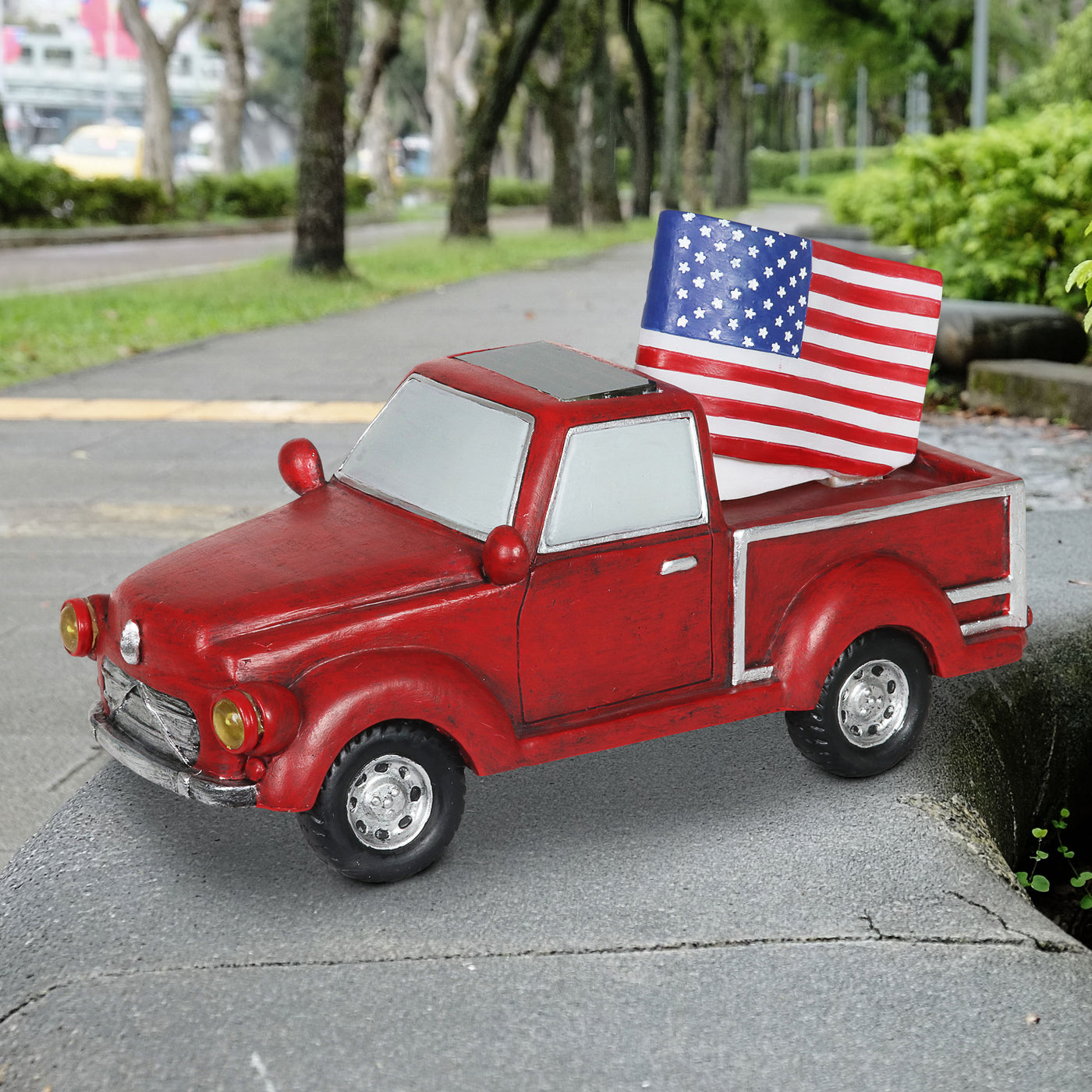 Solar Red Patriotic Garden Truck Statue With American Flag 6 5 By 11 Inch Exhart Home Garden Decor