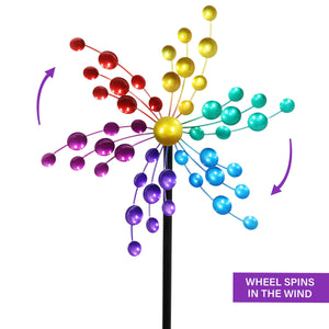 Multicolor Wind Spinner Kaleidoscope Metal Garden Stake, 16 by 78 Inches