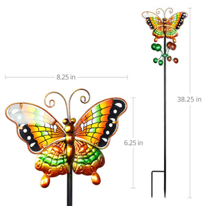 Exhart Butterfly Wind Spinner Garden Stake in Orange, 9 by 38 Inches