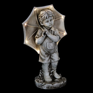 Solar Boy with Umbrella Statue in Natural Resin Finish, 19 Inch