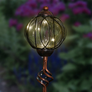 Solar Metal and Clear Glass Garden Stake with Oval Link Pattern, Finial Detail and Six LED Fairy Firefly String Lights, 4 by 32 Inches