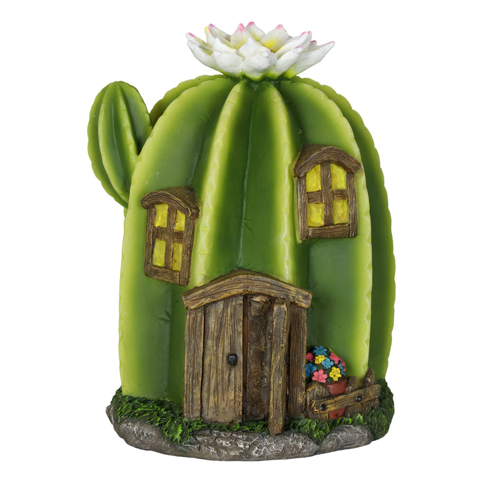 Solar Cactus Fairy House Garden Statue With Hand Painted Front Door, Windows and White Flower, 9 Inch